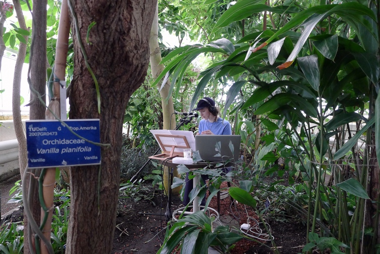 ASMR performance at the botanical garden TU-Delft as part of the programme for a master class at The Berlage. 2017.
